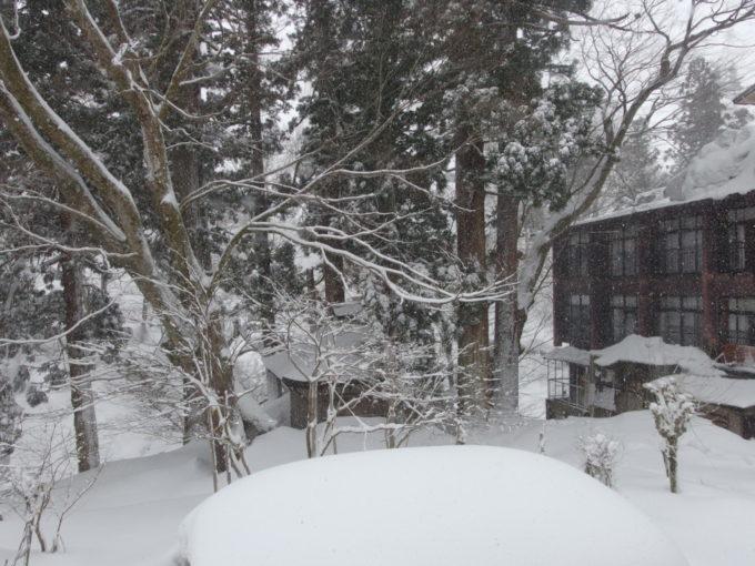栃尾又温泉自在館大正棟から眺める雪景色