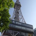 初夏の青空と新緑に映える銀色の名古屋テレビ塔