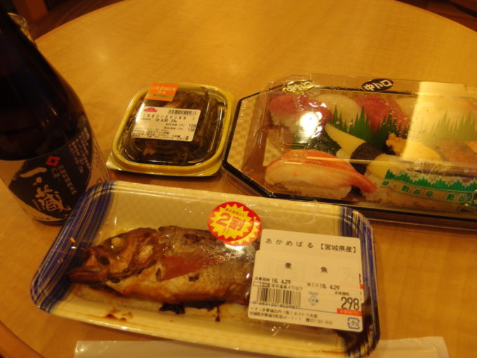 太平洋フェリーきそ船上でイオン多賀城店で仕入れた夕飯を