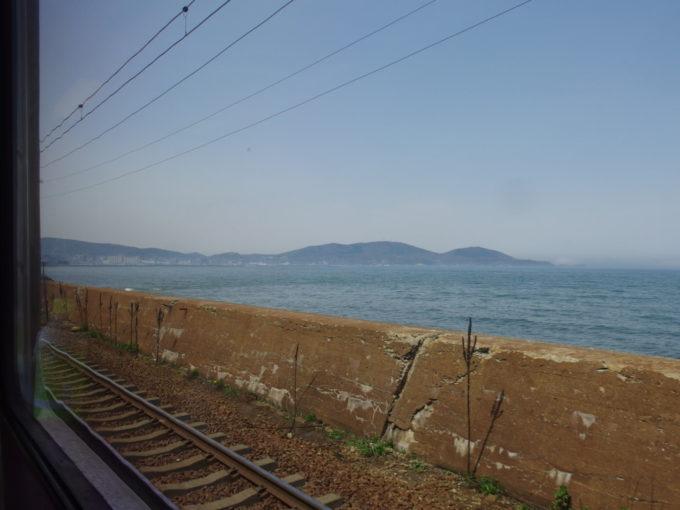 函館本線721系から眺める石狩湾と小樽の街