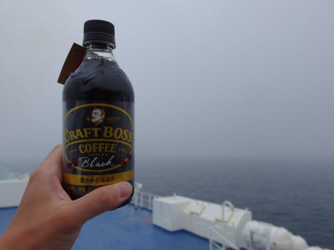 新日本海フェリーはまなす曇天の日本海を眺めながらのモーニングコーヒー
