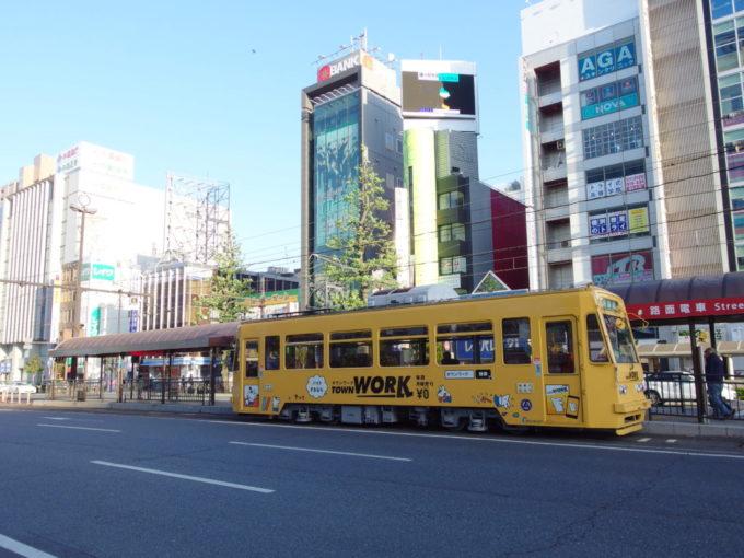 岡山駅前から発着する岡山電気軌道の路面電車