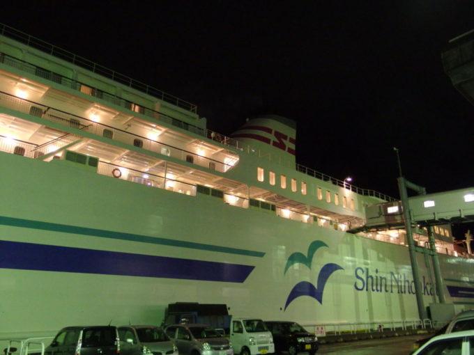 舞鶴港に到着し、新日本海フェリーに別れを告げる