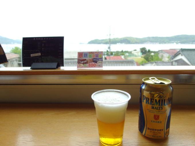 WILLERTRAINS京都丹後鉄道丹後あおまつ号車内カウンターで買ったプレミアムモルツを旅のお供に