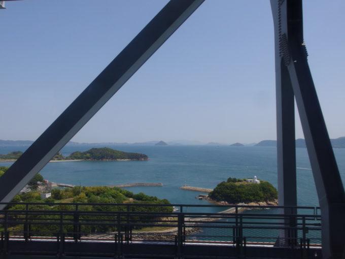 本四備讃線瀬戸大橋線遠くに連なる瀬戸内の島影と白亜の鍋島灯台