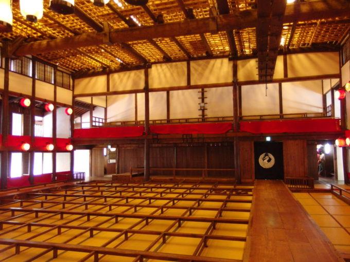 琴平旧金毘羅大芝居金丸座舞台上から見た花道と客席