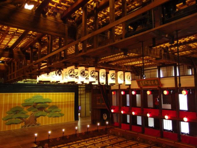 琴平旧金毘羅大芝居金丸座天井を覆うブドウ棚と花道上にのびるかけすじ、並ぶ顔見世提灯