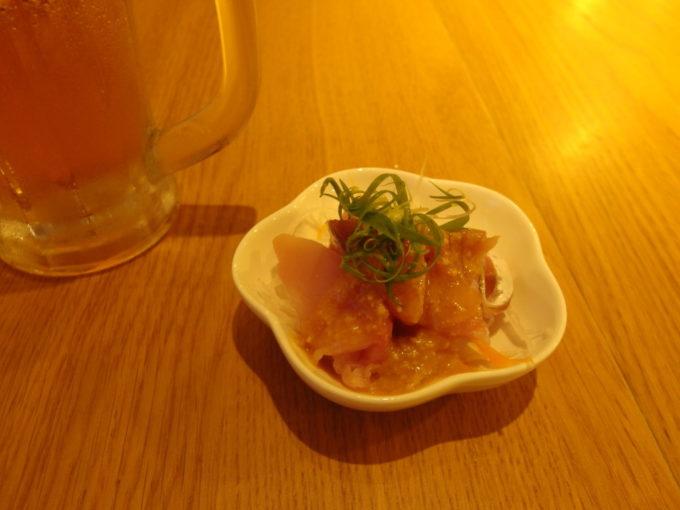石垣島島人居酒屋8番地お通しの白身魚のからし酢味噌