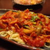 赤なすとパクチーのトマ味噌スパゲティー