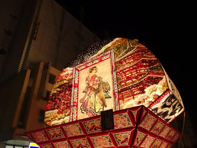弘前ねぷた最勝院五重塔を描いた美しい見送り絵