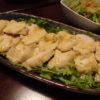 むね肉のしょっつるパクわさサラダ・山東菜の天かす生姜和え