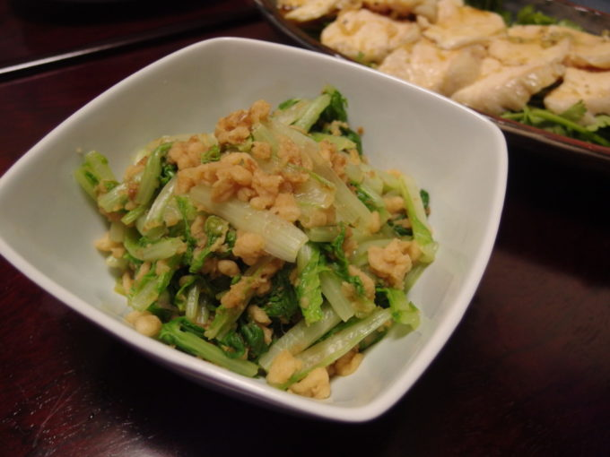 山東菜の天かす生姜和え