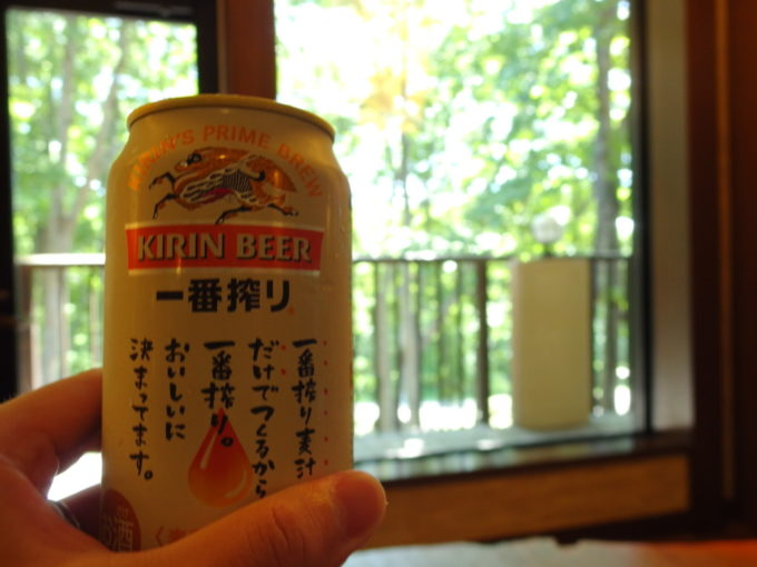 アソベの森いわき荘で湯上がりのビールを