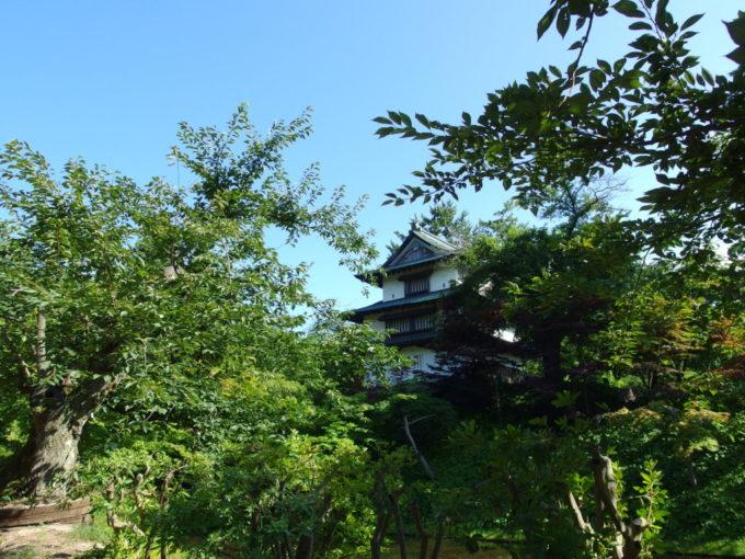 夏の弘前公園桜の木々と丑寅櫓