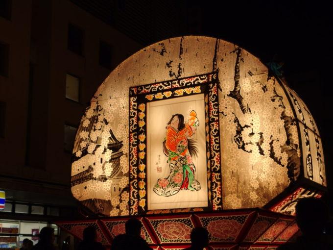 夏の弘前ねぷた弘前城と淡い色をした枝垂れ桜の美しい見送り絵