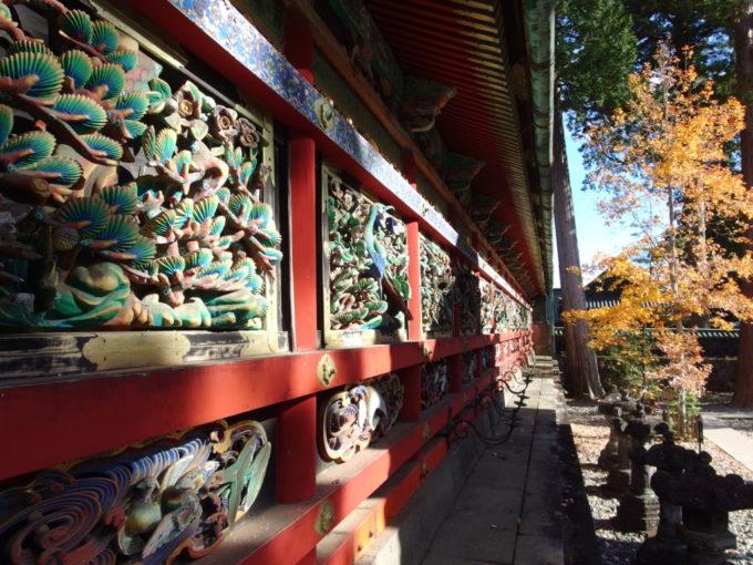 晩秋の日光東照宮一枚板を透かし彫りにした見事な回廊