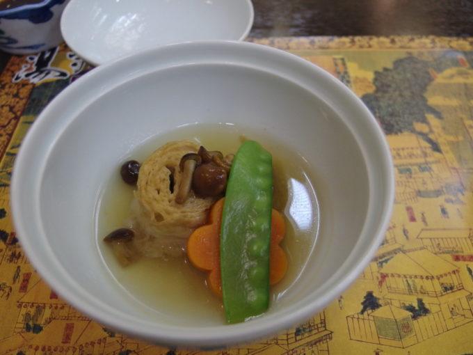日光湯元温泉湯守釜屋1泊目夕食湯波の煮物