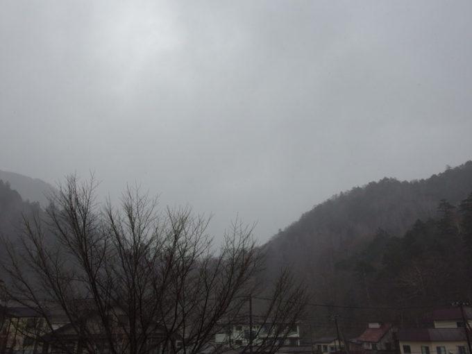 日光湯元温泉湯守釜屋12月初日舞い始めた雪