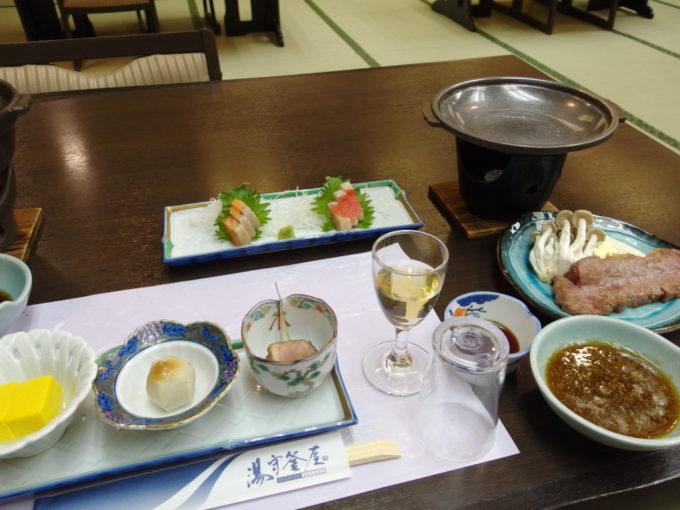 日光湯元温泉湯守釜屋3泊目夕食前菜とステーキ