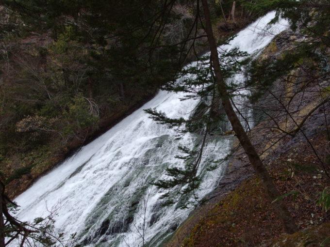 溶岩壁を滑り落ちる湯滝