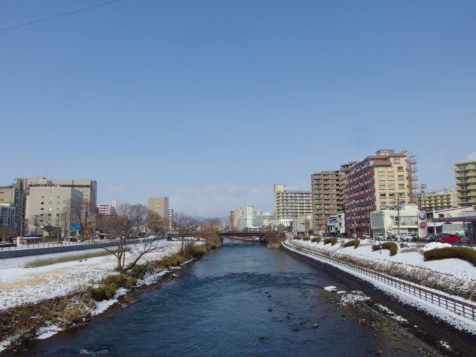 冬晴れの盛岡開運橋からの眺め