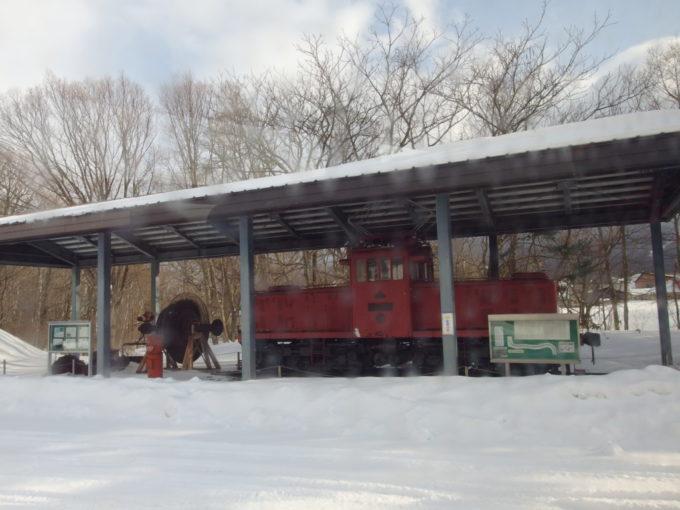 松尾鉱山資料館に展示された松尾鉱業鉄道の電気機関車