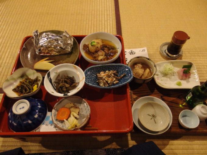 冬の乳頭温泉郷鶴の湯1泊目夕食