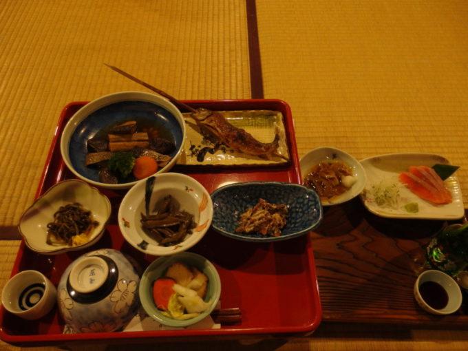 冬の乳頭温泉郷鶴の湯2泊目夕食
