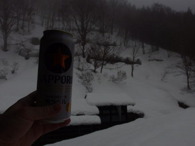 冬の乳頭温泉郷鶴の湯金星輝く午前のビール