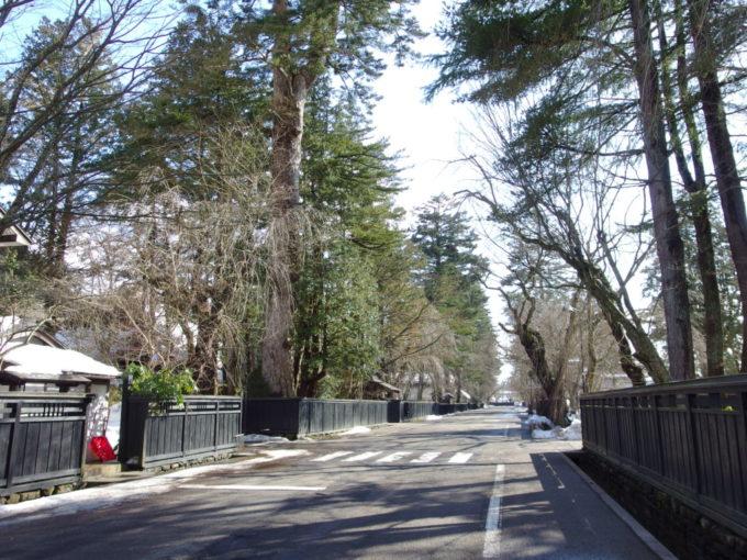 冬の角館冬晴れとの対比が美しい武家屋敷の渋い黒塀