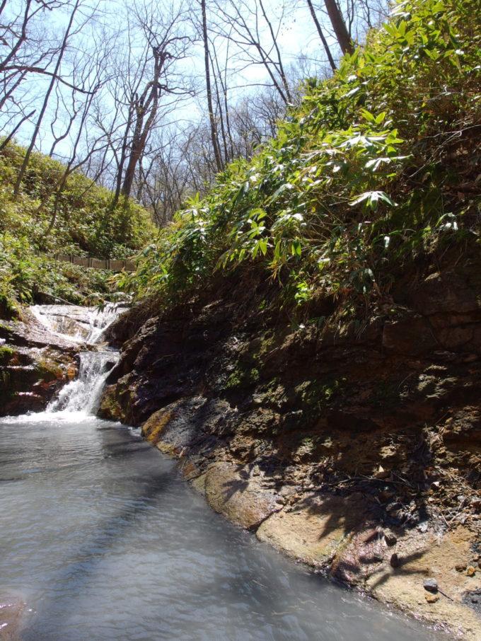 自然の流れを利用した大湯沼川天然足湯