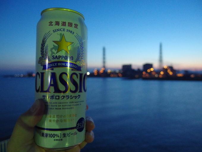 新日本海フェリーらいらっくデッキで北海道との別れを惜しむクラシックを