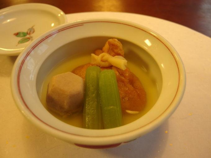 蔦温泉旅館1泊目夕食山菜巾着の煮物