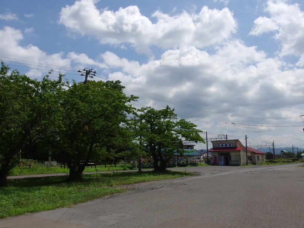 夏の桜の緑が駅前広場を守る田舎館駅