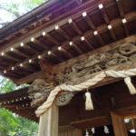 津軽尾上猿賀神社拝殿の龍と唐獅子の立派な彫刻