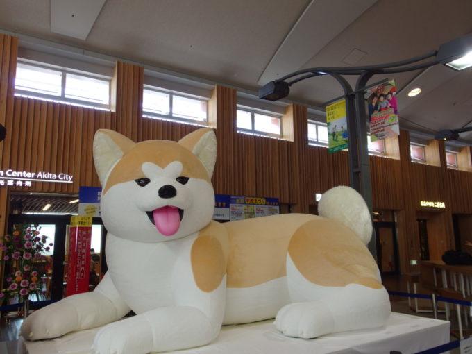 秋田駅コンコースで旅人を出迎える巨大な秋田犬のぬいぐるみ