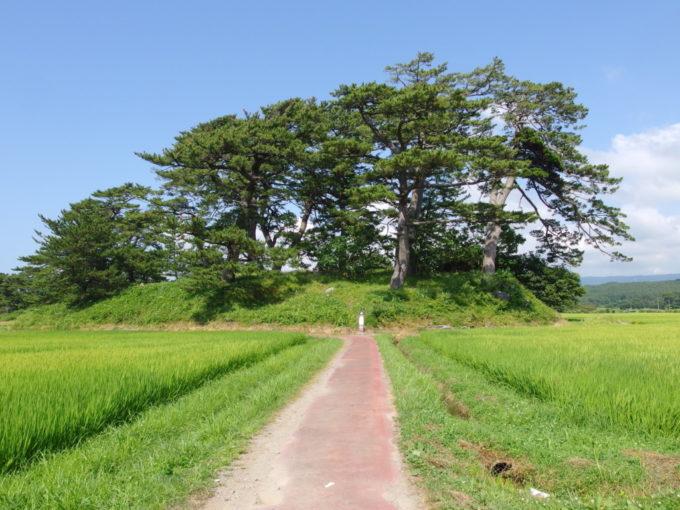 象潟九十九島めぐり田んぼのあぜ道を歩く