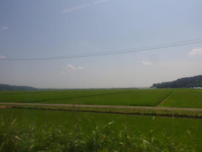 石巻線キハ110から眺める夏の田園