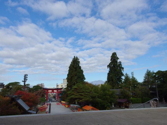 秋の盛岡八幡宮杉の巨木の間から見える岩手山