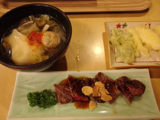 休暇村岩手網張温泉1泊目夕食ひっつみ汁ステーキ雫石長芋とつるなの天ぷら