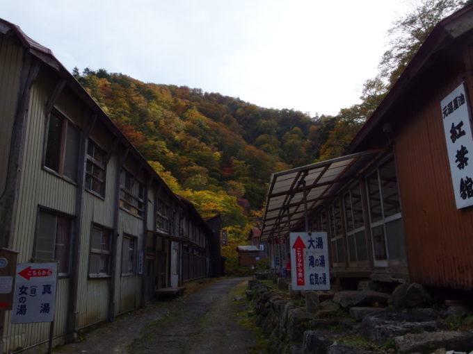 秋の夏油温泉元湯夏油紅葉の山を背負う自炊部