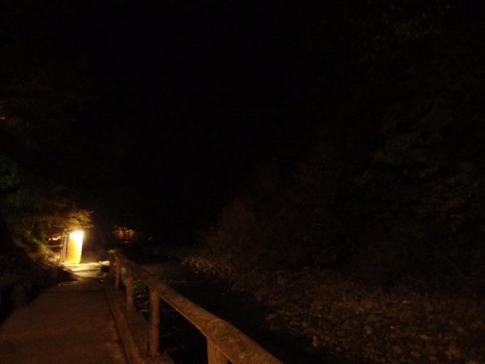 秋の夏油温泉元湯夏油漆黒の闇に浮かぶ疝気の湯