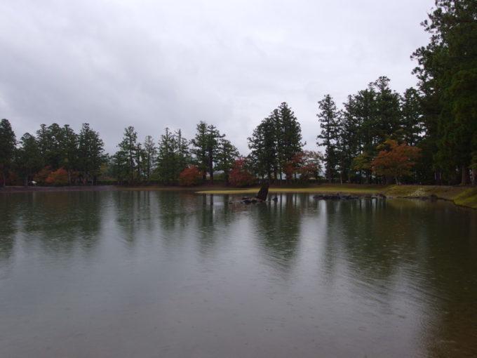 秋の平泉毛越寺雨に濡れる浄土庭園
