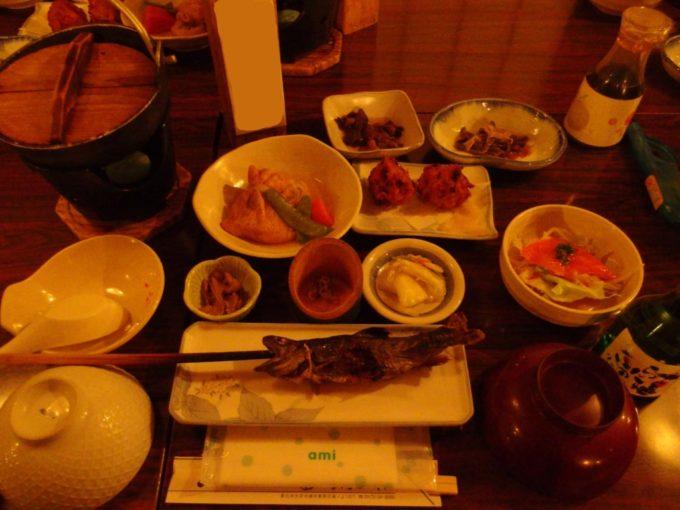 冬のランプの宿青荷温泉1泊目夕食