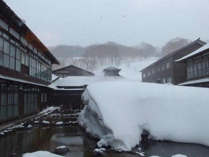 雪の少ない冬の酸ヶ湯温泉旅館こんもりと雪の積もる中庭