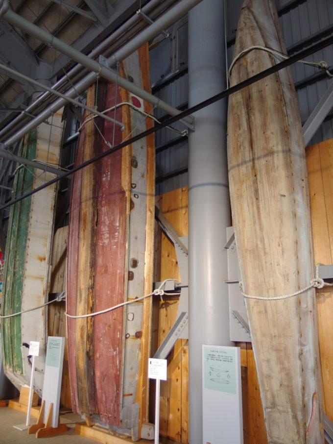 あおもり北のまほろば歴史館構造がよくわかるムダマハギ型漁船の船底