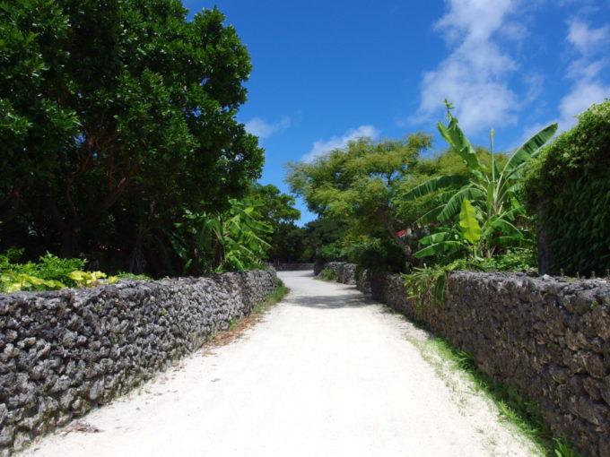 6月下旬人のいない竹富島珊瑚の黒い石垣の間にのびる白砂の道