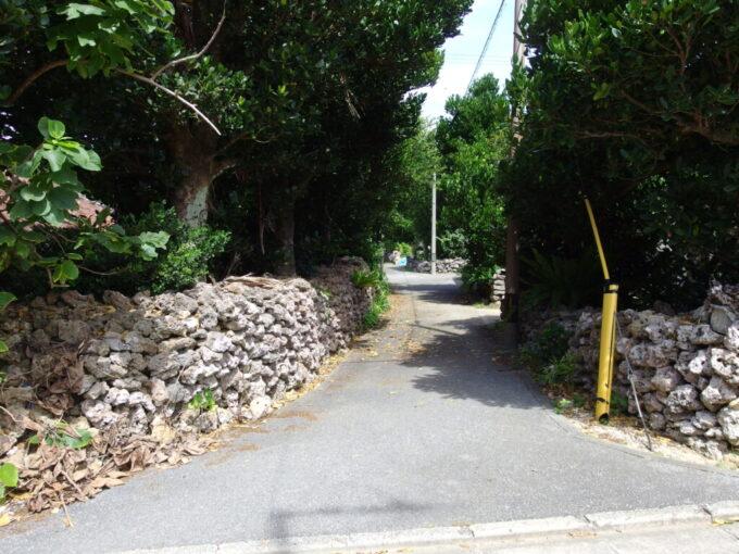 6月下旬人の少ない有人島日本最南端波照間島珊瑚の石垣の続く集落