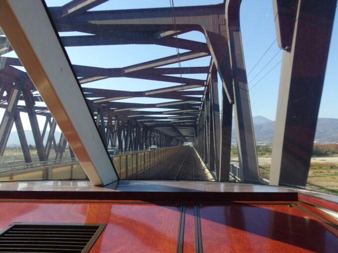 長野電鉄ゆけむり号後展望から望む村山橋併用橋