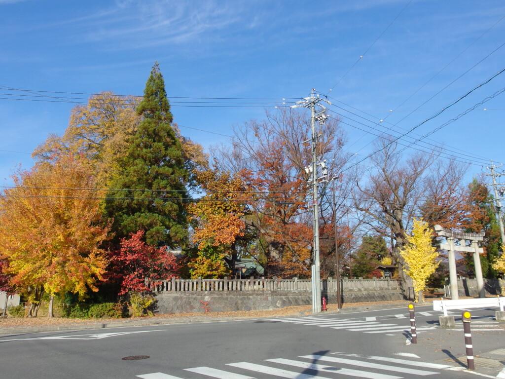 11月中旬の須坂秋色に彩られる墨坂神社芝宮の境内
